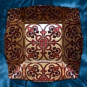 Arda Square Glassware Gold Red Bowl Decor